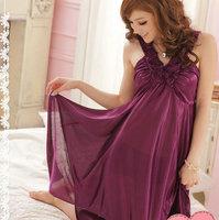 Elegant sexy women's spaghetti strap viscose lace sexy young girl nightgown sleepwear