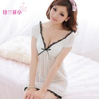Pure white romantic short-sleeve transparent sexy sleepwear elegant lace temptation women's summer V-neck gauze nightgown
