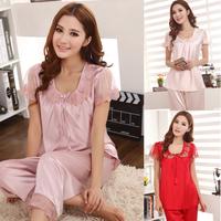 Send wife o-neck short-sleeve lace embroidery sexy sleepwear female silk set plus size lounge