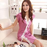 Summer short-sleeve silk nightgown women's sexy charming sleepwear summer silk temptation women's lounge