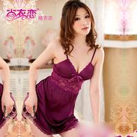 Purple summer temptation sexy nightgown lace print deep V-neck sleepwear spaghetti strap women's lounge miniskirt