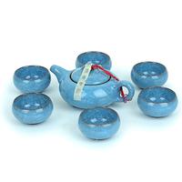 TOP yixing ceramic Blue Tea set calvings glaze tea set   Combination set of teapot and cups