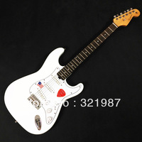 Free shipping New Arrival Stratocaster made in usa 6 string white Electric Guitar   nether adjustment truss rod