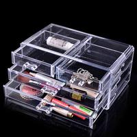 Free Shipping Acrylic storage box transparent dressing three drawers jewelry box 1005 - 2  Gift