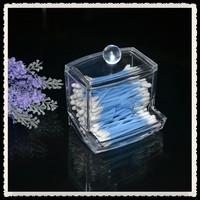 Free Shipping Supplies crystal cotton swab box transparent cotton pad storage box transparent acrylic fashion home storage  Gift