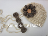 Wholesale Photography Props Crochet Baby set beanie Hat and barefoot sandals in Newborn Size 10set/lot