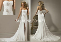 New Fashion Fold Chiffon Train Beading Lace up White Wedding Dress