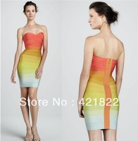 free shipping good quality 2013 Off shoulder rainbow Noble sexy Bandage Cocktail Party Evening Dresses HL