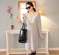 2012 New Korean  fall and winter maternity dress, pregnant women long-sleeved dress, lace collar knit shirt