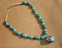 Metal tibetan jewelry turquoise stenciling necklace