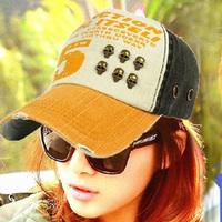 2013 skull color block decoration cap male women's lovers baseball cap hat