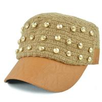 Winter autumn and winter punk rivet cadet cap knitted hat military hat chromophous duck cap