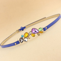 Kaki candy color luxury rhinestone gem belt strap female
