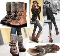Free shipping Gladiator boots rabbit fur thickening medium-leg boots platform shoes snow boots villi