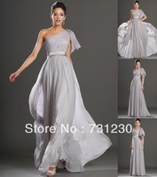 Free Shipping Elegant One Shoulder Chiffon Evening Dresses