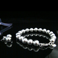 925 Sets - Fashion hollow beads bracelets 925 sterling silver Jewelry Set for women Silver Bracelets/Earrings,Free shipping