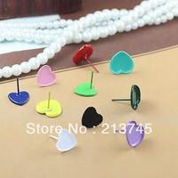 free shipping  200pcs Multicolor optional (into 10mm) heart earring studs tray, Earring Findings earring base blanks