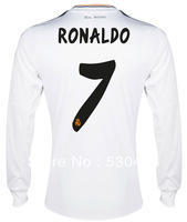 Real Madrid 2013/2014 RONALDO home white Long Sleeve soccer jersey 13/14 Thai quality Real Madrid jersey Size: S/M/L/XL