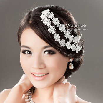 Lace flower petals rhinestone hair band hair accessory married bridal hairpin hair accessory little daisy water