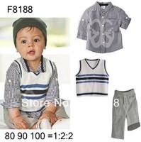 Free shipping(5pieces/lot)Children's Outfits & Sets boy's vest+t-shirt+pants suits 3 pcs sets Spring/autumn