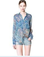New arrived Fashion Ladies' elegant floral print chiffion blouse with pocket casual vintage shirt slim quality brand