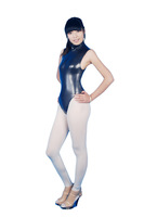 Glossy waterproof latex ammonia tight corset bodysuit sexy sleeveless turtleneck triangle one piece underwear