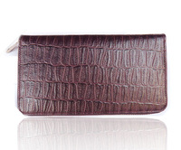 Purple genuine leather wallet male Women zipper wallet genuine leather wallet female long design