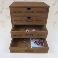 Zakka desktop storage box small drawer storage cabinet  wood jewelry  storage box vintage