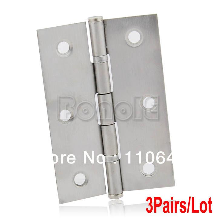 """3Pairs/Lot of 3"""" (75mm) Chrome Satin Stainless Steel Ball Bearing Door Butt Hinges Door Hinge 15037(China (Mainland))"""