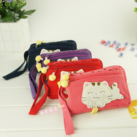 Cartoon cotton 100% women's zipper key day clutch carry bag 321