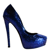 2014 New fashion  pumps women's high-heeled  Sequins  shoes heel 15cm blue color  party shoes