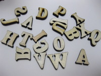 100 Assorted Flat Back Flatback Wood Alphabet Letter ~Wooden Scrapbooking Embellishment