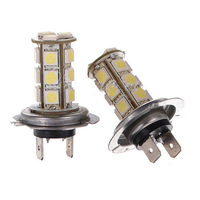 Free Shipping 2X NEW PROMOTION Car H7 18 SMD 5050 LED Xenon White Car Headlight Fog Day Light Lamp Bulb 12V