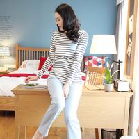 2014spring and autumn maternity clothing breast feeding t-shirt nursing sportswear set long sleeve shirt+length pants 1331