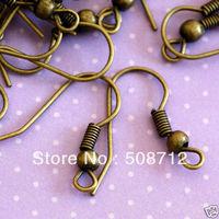 NEW!! Wholesale 1000Pcs ANTIQUE BRASS EARWIRES HOOK/earring hook coil ear wire red bronze