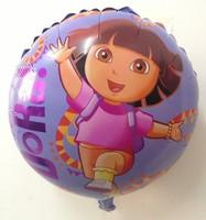 Free shipping , 10pcs/lot ,  18 inch round shape cartoon Dora balloon , Party decorate balloon