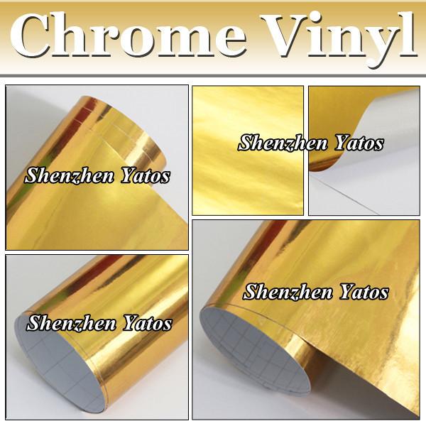 Gold Chrome Film Vinyl Car Sticker Chromr Mirror Decals With Air Release Drains(China (Mainland))