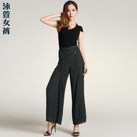 Pants 2013 plus size clothing summer mm high waist pants wide leg pants polka dot skirt skorts chiffon pants