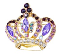 New Fashion 2013 Gorgeous Crown Elegant Brooch Pin Crystal Purple Costume Women Wedding Party