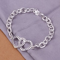 Newest 925 Sterling Silver Plated Women Bracelets Free Shipping Nickel Free Jewelry SH316