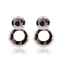 2014 Stock Sale Trendy Rhodium Round Stud Earrings With Animal Printing TE-1-62