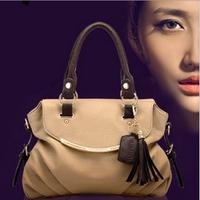 Promotion!Special Offer New 2014 Women Bags[GENUINE LEATHER+ Microfibre]Restore Shoulder Bags Tassel Handbag