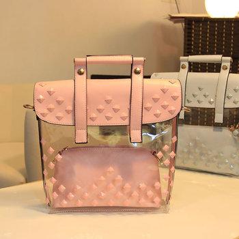 2013 fashion sweet candy color mother bag jelly chain rivet transparent women's one shoulder handbag