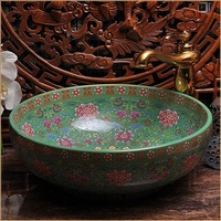 Europe Vintage Style Hand Painting Art Porcelain Green Countertop Basin Sink Handmade Ceramic Bathroom Vessel Sinks Vanities