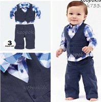 2013 New arrive baby clothing set Casual boys plaid shirt+vest+pants 3 pcs suit autumn kids clothes Wholesale and Retail BCS061