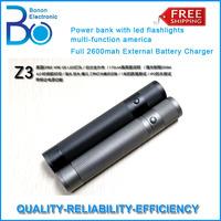 5pcs/lot ! Power bank Z3 with led flashlights america Q5 lights Full 2600mah External Battery Charger HK POST SHIPPING FREE