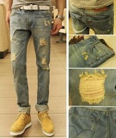 819  Sale HOT  NEW 2014 Retro Korean Skinny Fashion Designer Straight Men Jeans Men Hole Pant NWT 1001