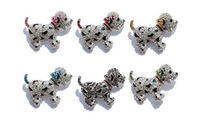 Wholesale Lovely 6 Pcs Dog Brooch Gorgeous Rhinestone Crystal White Gold Plating Popular abridal