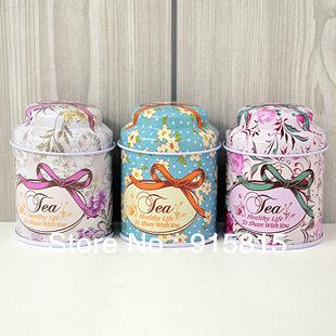 Freeshipping!3style Bright flowers design Tin Tea Box Mini Coffee box/ cute Storage box/ Storage Case 3pc/lot