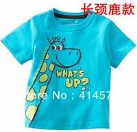 Прекрасный синий жираф предназначен для детской с короткими рукавами футболки Kids T-Shirt 100% хлопок 5 комплектов / серия